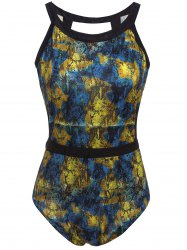 Sexy Round Neck Sleeveless Printed Hollow Out Women's Swimwear