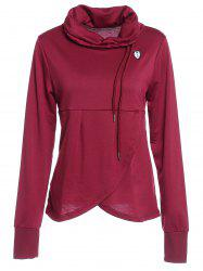 Petal Hem Drawstring Embroidered Sweatshirt - WINE RED