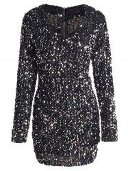 V Neck Bodycon Short Sparkly Dress
