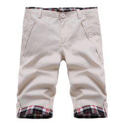 Fashion Straight Leg Plaid Spliced ​​Color Block Zipper Fly Shorts For Men - Blanc Cassé