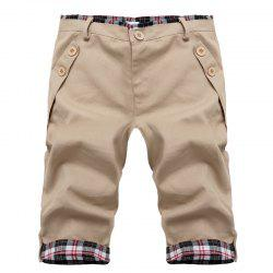 Fashion Straight Leg Plaid Spliced Color Block Zipper Fly Shorts For Men - BEIGE