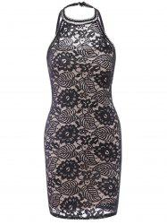 Sleeveless Flower Lace Sheath Knee Length Dress - BLACK