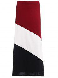 Long Color Block Skirt - RED