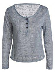 Casual Style V Neck Long Sleeve Button Women's T-Shirt