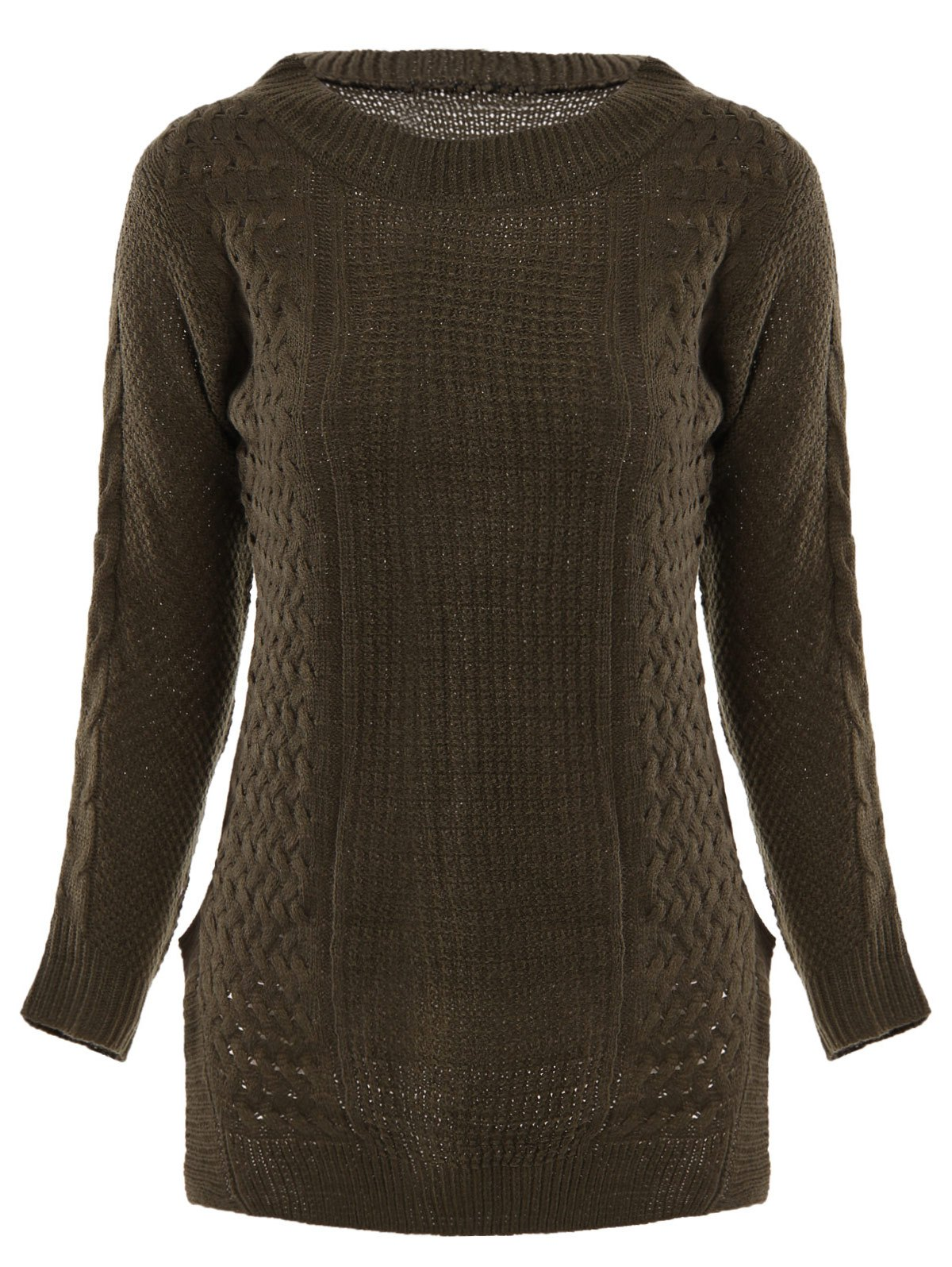 New Stylish Round Neck Long Sleeve Solid Color Furcal Women's Sweater