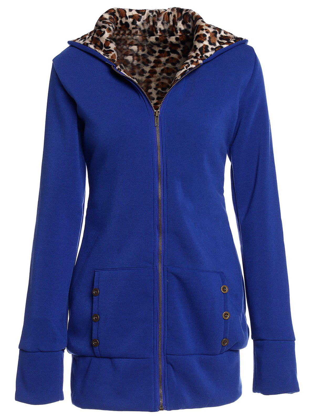 Store Sexy Hooded Inside Leopard Printed Thick Hoodie For Women