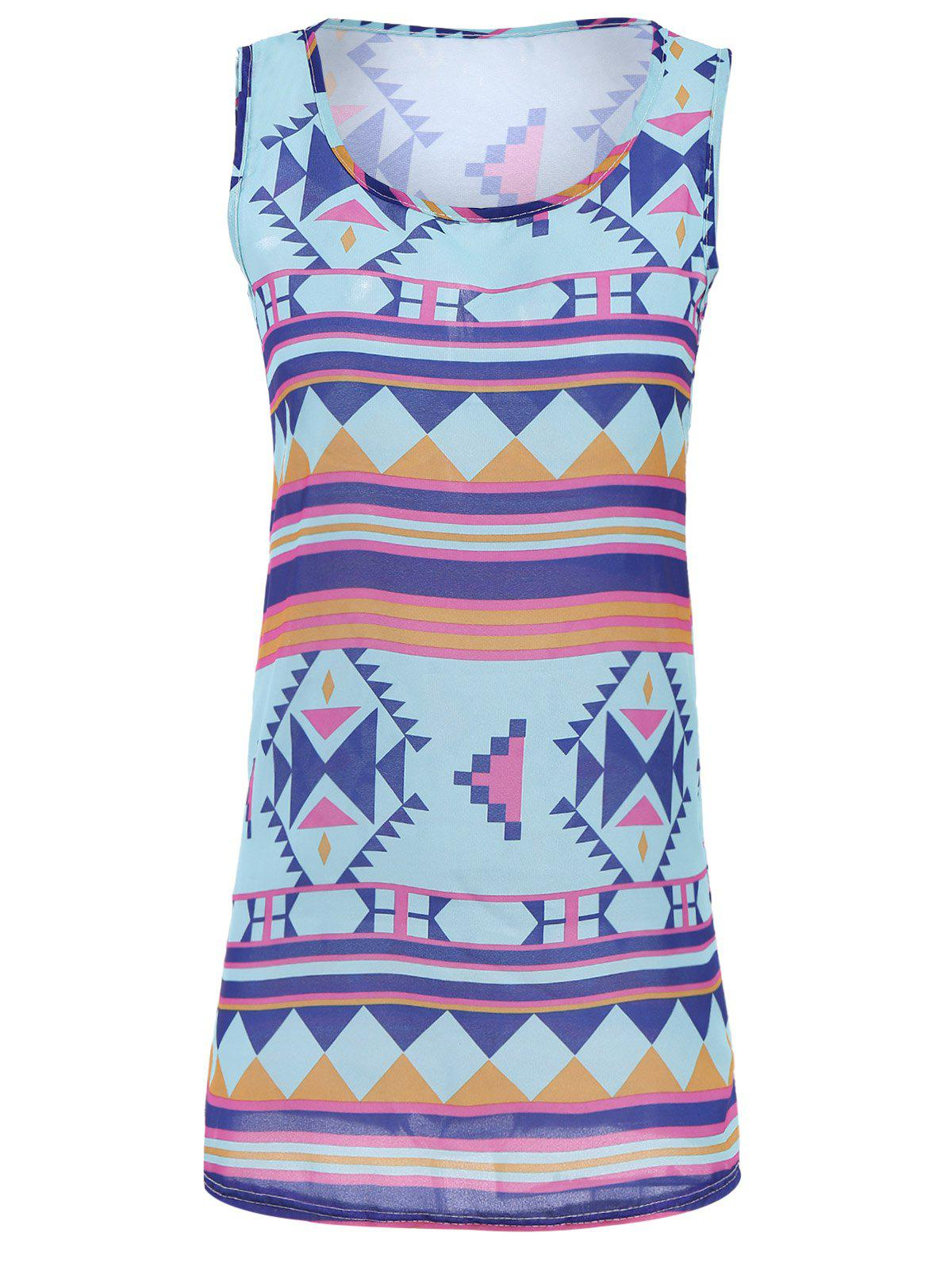 New Stylish Scoop Neck Sleeveless Geometric Dress For Women