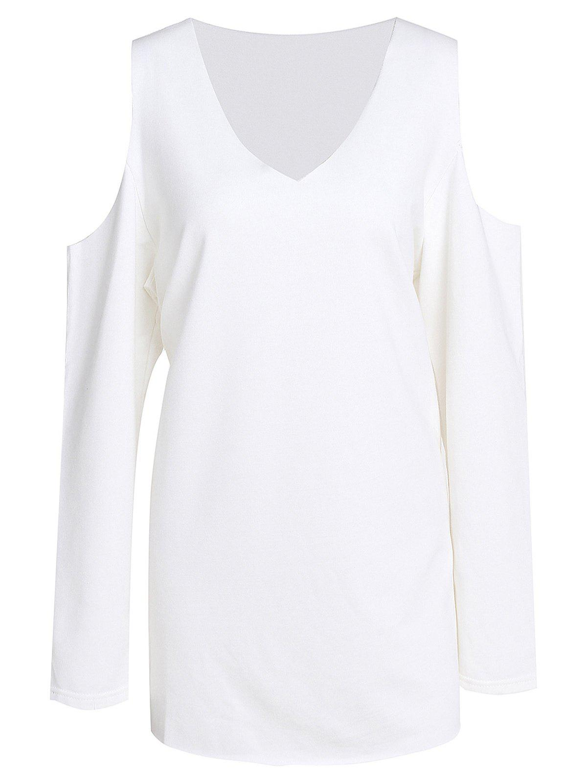 Hot Sweet V-Neck White Long Sleeve Sweatshirt For Women