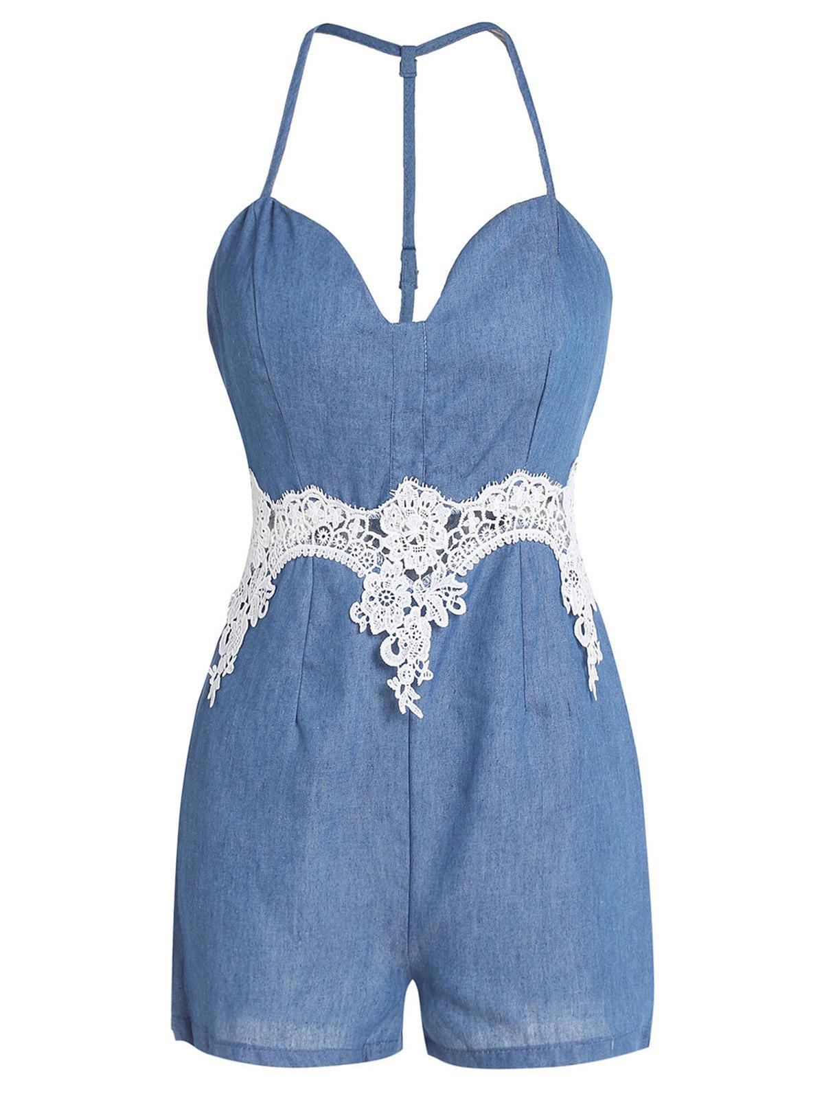 Affordable Spaghetti Strap Lace Trim Short Denim Romper