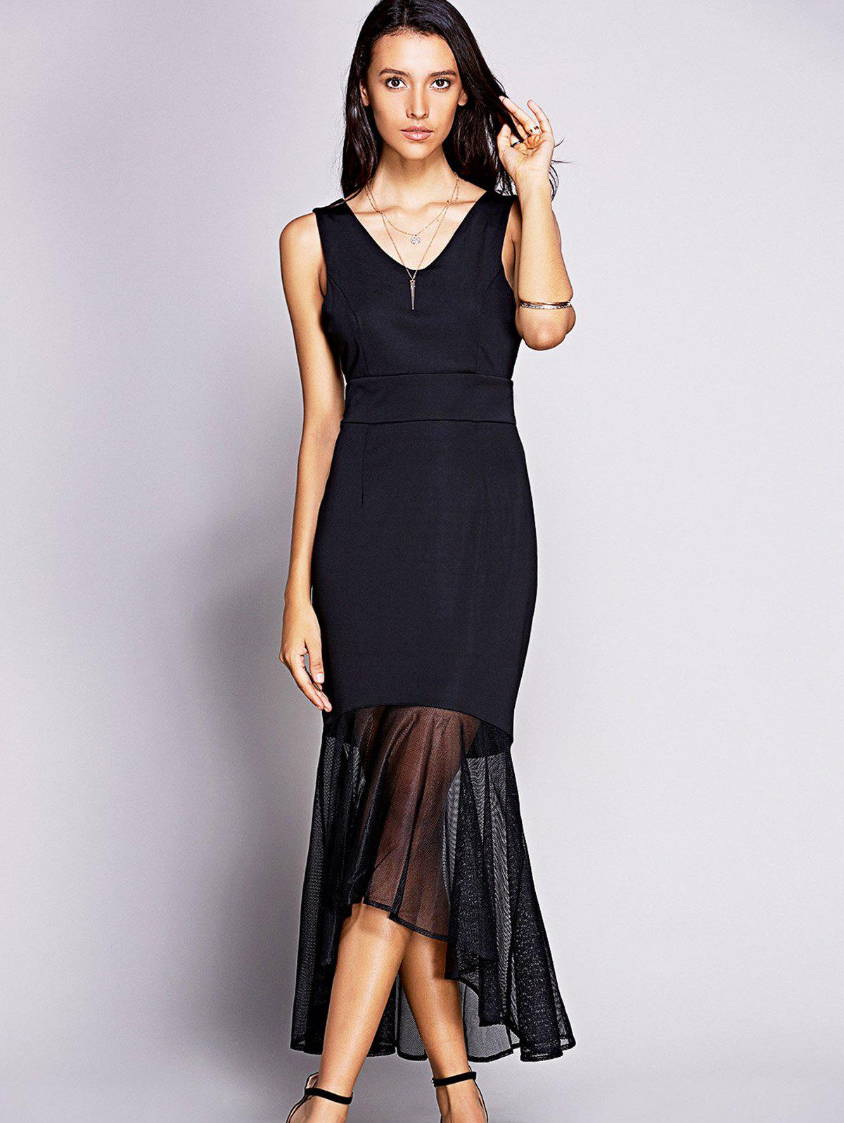 Fashion Backless Mesh Insert Long Fitted Mermaid Dress