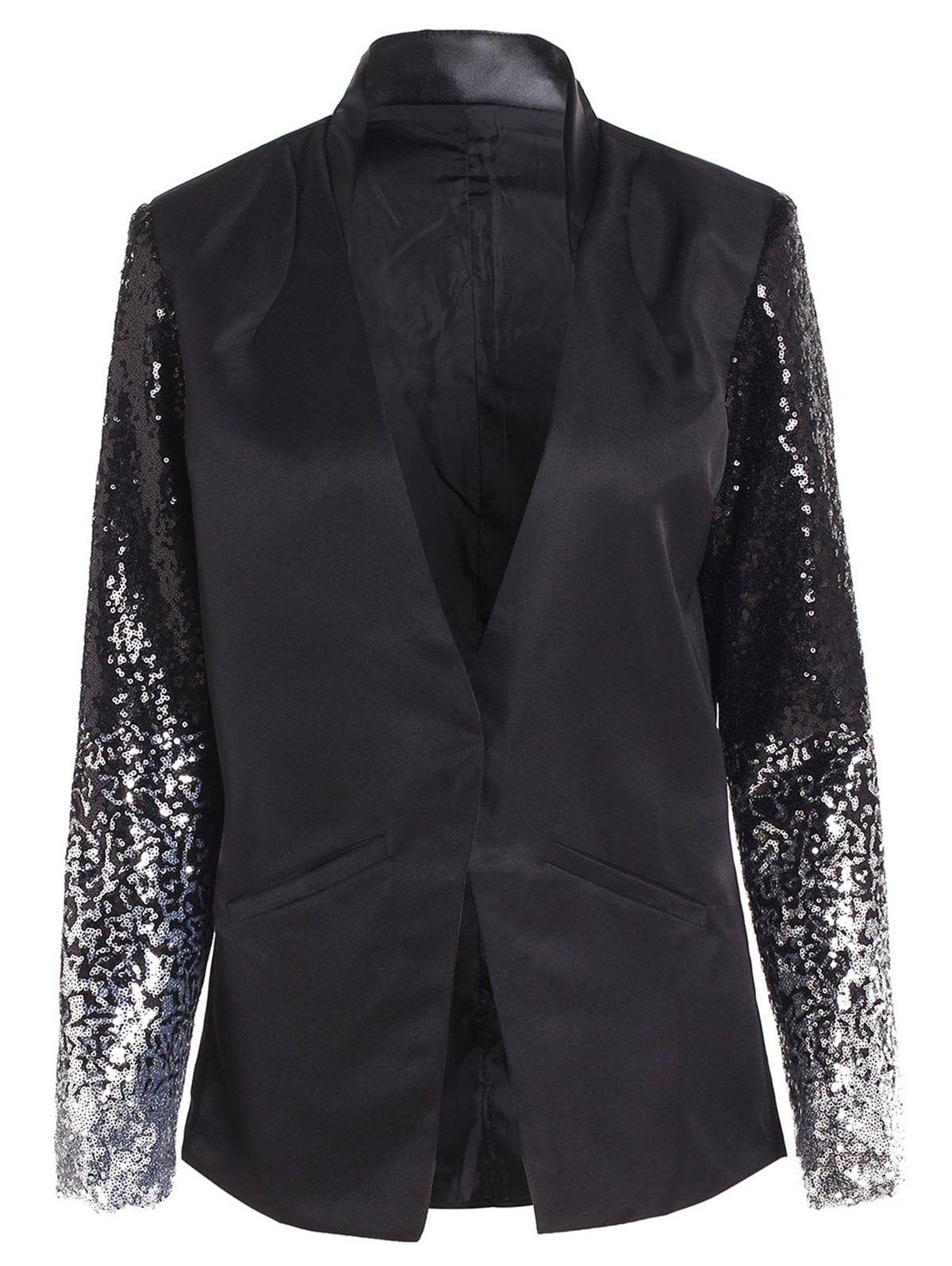 Fashion Plunging Neck Sequined Long Blazer