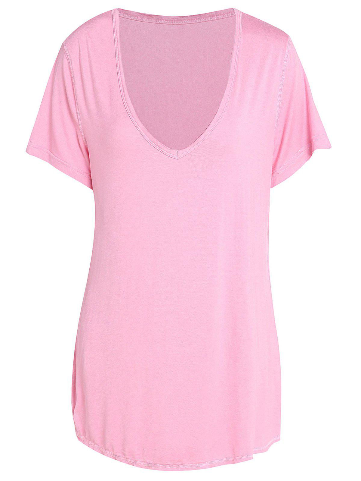 New Trendy Pure Color V-Neck Short Sleeve T-Shirt For Women