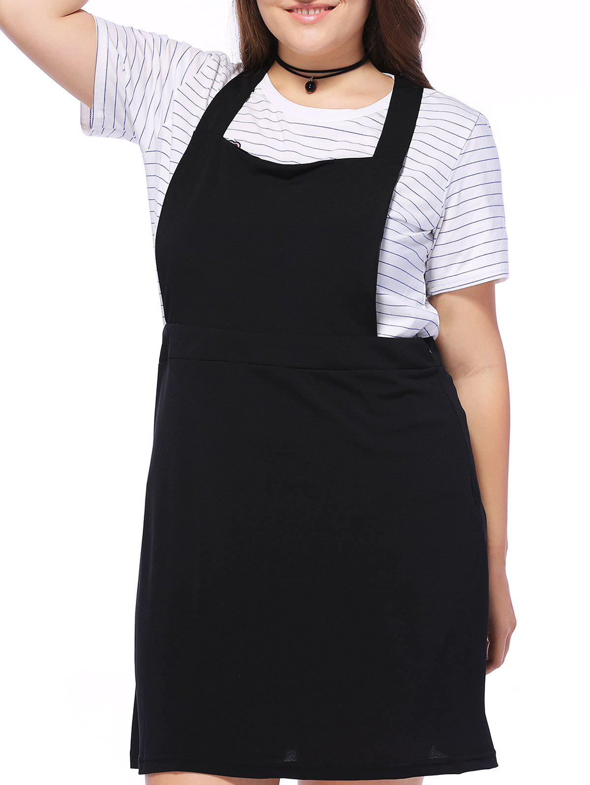 40% OFF] Plus Size Square Neck Mini Pinafore Dress | Rosegal