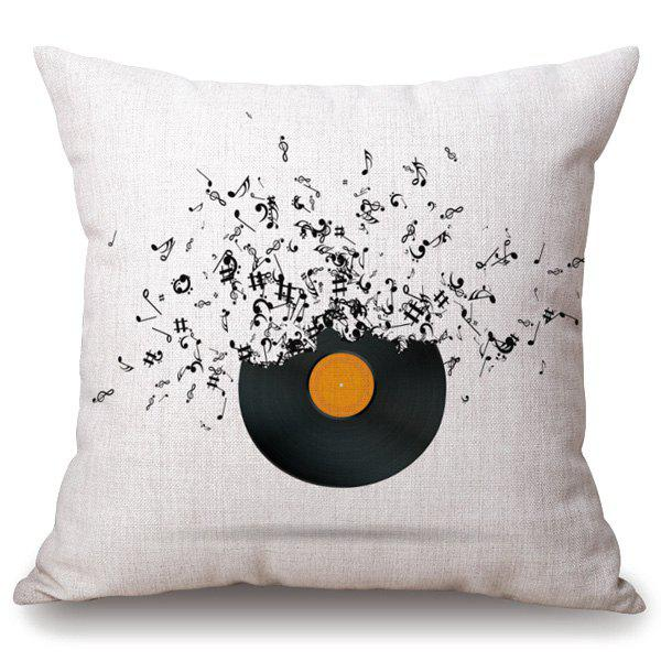 Throw Pillows On The Bed Song : Off White Casual Music Note Disk Pattern Square Shape Pillowcase RoseGal.com