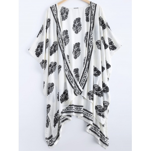Asymmetric Summer Floral Print Kimono Cover Up - White - M