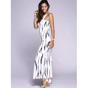 Sleeveless Cutout Maxi Illusion Print Dress - WHITE 2XL