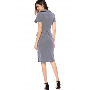 Elegant Turn Down Collar Short Sleeve Zip Embellished Faux Two-Piece Dress For Women -