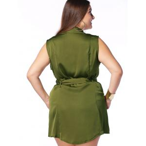 Military Style Plus Size Sleeveless Pockets Design Women's Shirt Dress -