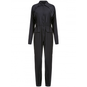 Stylish Low-Cut Solid Color Long Sleeve Elastic Waist Jumpsuit For Women