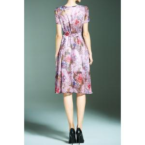Flower Print Chiffon Dress with Belt -