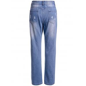 Casual High-Waisted Ripped Frayed Women's Ninth Jeans -