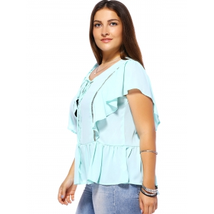 Sweet Plus Size Criss Cross Hollow Out Women's Chiffon Blouse -