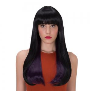 Stunning Black Purple Mixed Synthetic Straight Tail Adduction Long Adiors Wig For Women