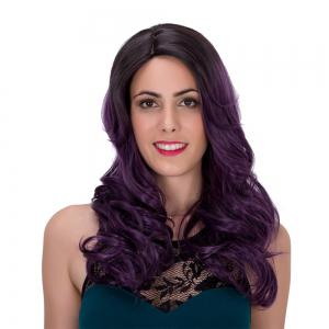 Fluffy Wavy Black Ombre Dark Purple Synthetic Trendy Long Adiors Wig For Women