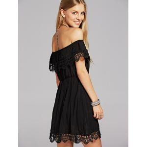 Off The Shoulder Crochet Skater Dress - BLACK L