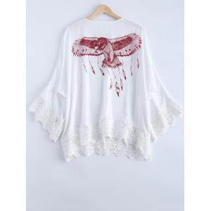 Simple Tie Neck Lace Print Long Sleeves Kimono For Women -