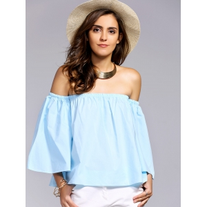 Alluring Off-The-Shoulder Flare Sleeve Women's Blouse -