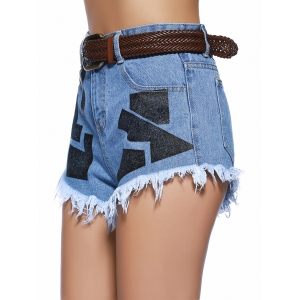Chic Women's Geometrical Raw Hem Denim Shorts -