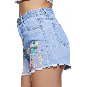 Chic Women's Ethnic Print Denim Shorts -