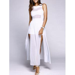 Alluring Round Neck Sleeveless High Slit Voile Spliced Women's Dress - White - L