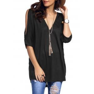 Cold Shoulder Asymmetrical Low Cut V Neck Tee - Black - M