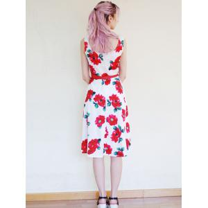 Jewel Neck Vintage Sleeveless Floral Print Belted Flare Dress For Women -
