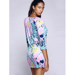 Trendy Scoop Neck Abstract Plant Print Mini Dress For Women -