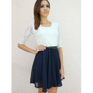 Robe de Ladylike U Neck Lace Splicing femme manches moitié Ruffled -