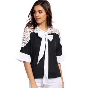 Sweet 3/4 Sleeve Bowknot Embellished Lace Splicing Blouse -
