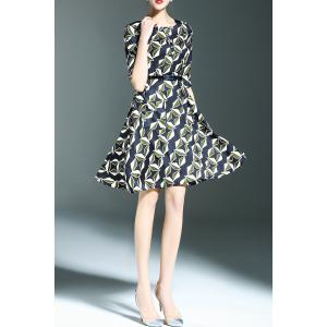 Belted Printed A Line Dress -
