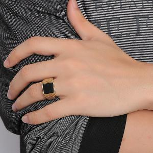 Trendy Faux Gem Square Shape Woven Carved Ring For Men -