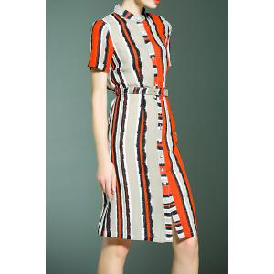 Striped Single Breasted Dress -