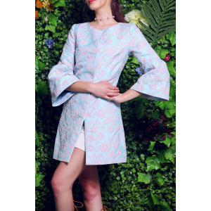 Floral Embroidery Fitting Trench Coat -