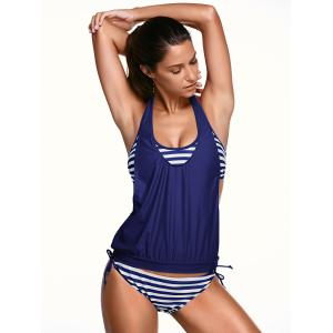 Halter Stripe Print Tankini Bathing Suits