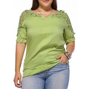 Sweet Plus Size Flower Pattern Hollow Out Women's Blouse - Green - L