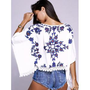 Batwing Sleeves Floral Pattern Lace Spliced Top -