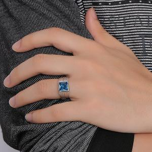 Square Shape Rhinestone Geometric Ring - SILVER