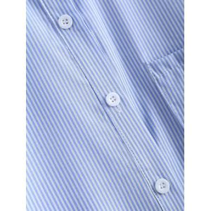 Trendy Pocket Design Striped Single Breasted Blue Shirt -