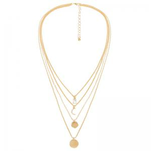 Moon Faux Crystal Rhinestone Layered Necklace - Golden - One-size