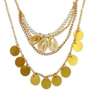 Vintage Faux Pearl Shell Coins Necklace - GOLDEN